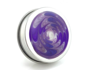 Small Violet, White Treasure Box - Purple, White Metal Box - Small Jewelry Box - Trinket Box - Handmade Pill Box - Ready to Ship - #174