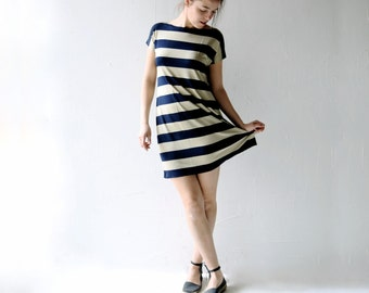 Striped dress, Tunic dress, Jersey tunic, Navy blue, Short dress, Boat neck dress, Tshirt dress, Womens dress, Womens clothing, A-line dress