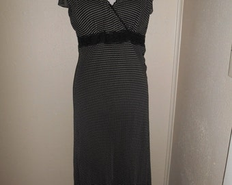 90s polka dot black white long dress