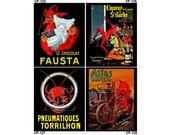 VP125-128 Vintage Poster Art - One 8x10 or Two 5x7s - Red Devils, Chocolat Fausta, Liqueur St Barbe, Pneumatiques Torrilhon & Atlas Tires