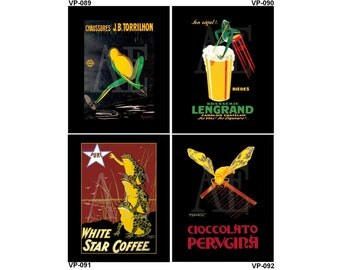 VP089-092 Vintage Poster Art - One 8x10 or Two 5x7s - Frogs Chaussures Torrilhon, Brasserie Lengrad, White Star Coffee, Wasp Bee Chocolate
