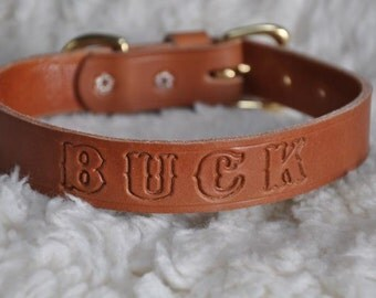 Custom Made Leather Dog Collar 1 inch wide with Free Personalization Made to fit YOUR Dog