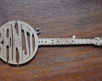 Banjo Blue Grass   Band Instrument Ornament  Wooden Toy Hand Cut with Scroll Saw