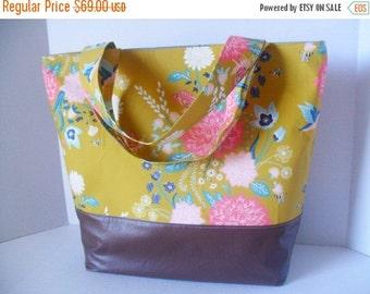SALE Extra Large Tote Diaper Bag - Diaper Bag - Flower Bag - Laptop Bag - Nectar Flower Diaper Bag -  Beach Bag - Washable - Vegan Leather