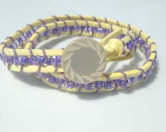 yellow button wrap bracelet
