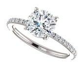 amora gem eliza ring - 1.5 carat amora gem engagement ring, pave diamond band
