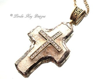 Small Unique Religious Cross Necklace Rustic Rhinestone Christian Pendant One-of-a-Kind Mixed Media