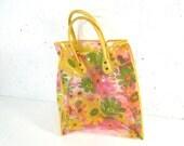 Vintage plastic bag, clear plastic daisy bag, 1960s, grocery bag, reusable bag, see through bag