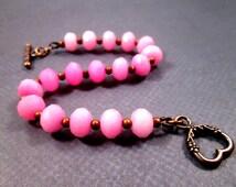 Gemstone Bracelet, Copper Heart Toggle Clasp, Pink Jade Stone Beaded Bracelet, FREE Shipping U.S.