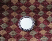 Vintage pin Beau sterling silver circle to engrave for Valentine's Day filigree border