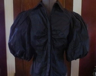50% Off SALE Vintage Black Puff Sleeves Blouse Top Victorian Steampunk Gothic Size Medium