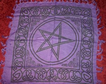 Pagan Wiccan Celtic Pentagram Purple Altar Cloth