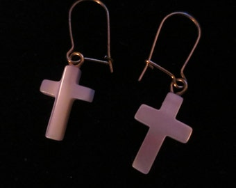Vintage Carved Mother of Pearl Cross Dangle Earrings