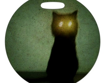 Luggage Tag - The Haunted Cat Photo - 2.5 inch or 4 Inch Round Large Plastic Bag Tag