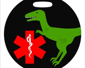 Velociraptor with Medical Symbol  - 4 Inch or 2.5 Inch Round Plastic Bag Tag