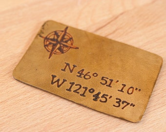 Wallet Insert - Leather with custom inscription - Find Me Here with nautical coordinates in antique brown
