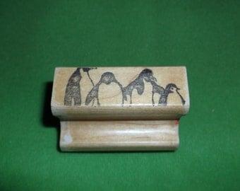 Penguins in a Line Rubber stamper