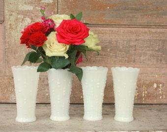 Milk glass vase set, Instant collection, White vase, 4 shabby chic vintage wedding table decor, set of milk glass bud vases, collection