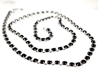 Black Crystal Rhinestone Chain Up to 22 inches Silver Tone 4.2mm