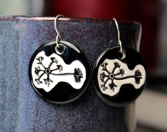 Neuron Earrings in Black