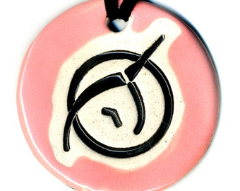 Invisible Pink Unicorn Ceramic Necklace in Pink