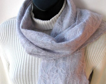 Snowdrift - Luxurious Hand Felted warm wool scarf for women unique handmade gift for her winter fashion accessory womens holiday fashion