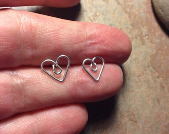 heart studs. sterling silver wire heart studs