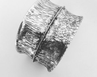 Wide Silver cuff. fold formed cuff. textured cuff. sterling silver. statement piece