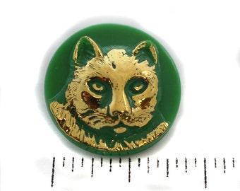 Jade Green, Gold Cat Czech Glass Button - 23mm
