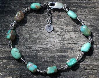 Hubei turquoise sterling silver beaded bracelet