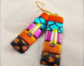 Statement trendy earrings, dichroic glass earrings, striped earrings, big and bold jewelry, dangle earrings, rainbow colors, mod earrings