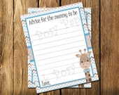 Printable Blue Giraffe Baby Boy Shower Advice Cards - Instant Download