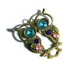 Owl Pendant, Rhinestone Brass Pendant