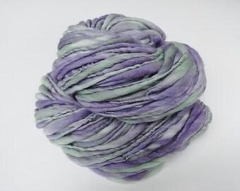 Lavender Fields Handspun Yarn Bulky Thick and Thin Merino Wool 100 yards lavender purple sage green