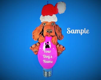 Irish Setter Santa dog Christmas Light Bulb Ornament Sally's Bits of Clay PERSONALIZED FREE with dog's name