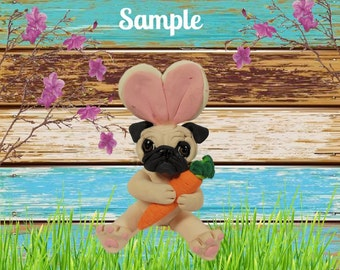 Fawn Pug Easter Bunny dog with Carrot OOAK Clay art sculpture by Sally's Bits of Clay