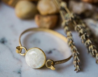 Gold Moonstone Cuff Bracelet - Raw Bronze, Scrolled Design, June Birthstone - Wedding Jewelry, Bohemian, Moon Stone Bracelet, Wild Heart