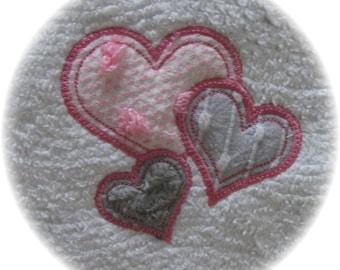 Machine Embroidered Love Hearts Applique Vintage Chenille Bedspread Quilt Charm Square Applique M2M