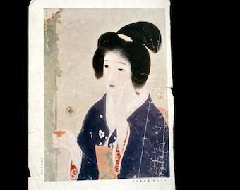 Vintage Japanese Print Woman Ukiyo-e Print by Kaburaki Kiyotaka 1878-1972 Small Size
