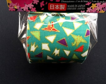 Japanese Fabric Tape - Origami Tape - Origami Crane Tape -  Green Tape - Japanese Tape