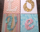 Baby Girl Nursery 'Love' Wall Art, Button Art, Nursery Decor, 'Love' Wall Hanging, Personalized Kids Wall Art, You Choose Configuration