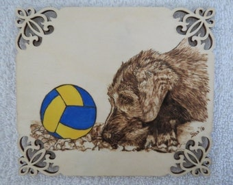 Irish Wolfhound Pet Portrait Wood Burn Art Wall Plaque Made to Order by Shannon Ivins Pigatopia
