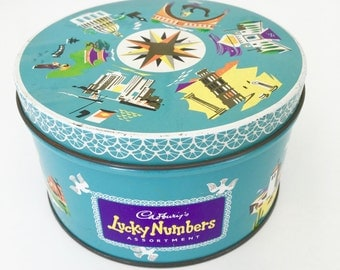 Vintage Cadbury's Lucky Numbers Tin 50s 60s