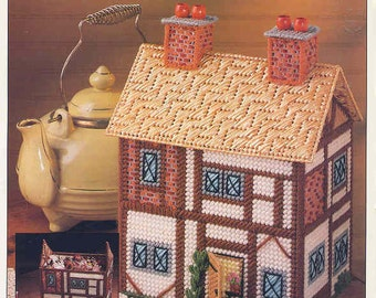 Cottage Keeper ~ plastic canvas pattern  ~  Annie's  ~ Storage Keeper ~ Removable Top