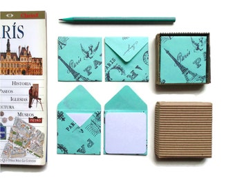 Paris Envelopes, Cute Stationery, Gifts Under 10, Paper Goods, Square Envelopes, Green Paris, Stationery Set, Blank Note Cards