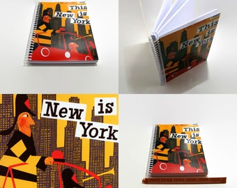 New York Firemen, Writing Spiral Bound Diary Travel Journal, Mid Century Modern, Blank Sketchbook, Cute Pocket Notebook, 4x6, Gifts Under 15