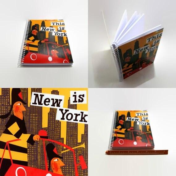 New York Firemen Spiral Notebook, Travel Journal, Mid Century Modern, Blank Sketchbook, Writing Journal, Spiral Bound Journal, Diary Journal