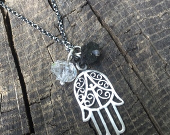 Protection Charms Hamsa Herkimer Diamond and Black Tourmaline Necklace