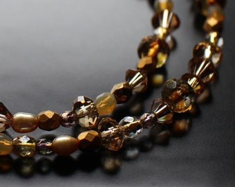 Amber Gold Yellow Necklace Beaded Necklace,  with Freshwater Pearls, Czech Fire Polish Beads and Crystals, Autumn Necklace, Gift Box