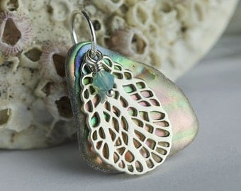 Abalone pendant with Sterling silver coral charm and Swarovski Crystal, beach jewelry